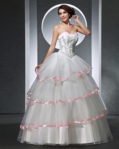 white and pink strapless corset wedding dresses with