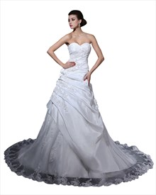 White Taffeta Sweetheart Pick Up Wedding Dress With Floral Appliques