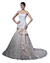 Show details for Vintage White And Champagne Lace Mermaid Strapless Wedding Dresses