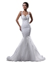 Show details for Ivory Organza Beaded Applique Mermaid Wedding Dress With Cross Backs