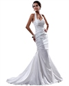 Show details for White Halter Neck Taffeta Mermaid Wedding Dress With Beaded Waistband