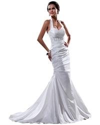 White Halter Neck Taffeta Mermaid Wedding Dress With Beaded Waistband