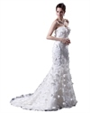 Show details for White Strapless Tulle Wedding Dress With Lace Applique And 3d Flowers