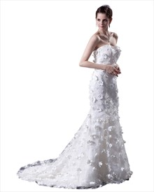 White Strapless Tulle Wedding Dress With Lace Applique And 3d Flowers