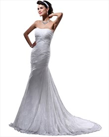 Elegant Ivory Lace Strapless Mermaid Court Train Wedding Dresses
