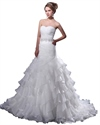 Show details for White Sweetheart Organza Ruffles Wedding Dress With Beaded Waistband