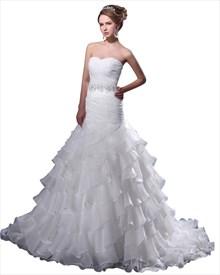 White Sweetheart Organza Ruffles Wedding Dress With Beaded Waistband