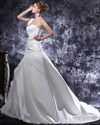 Show details for Ivory One Shoulder Long Train Wedding Dress With Floral Embellishments
