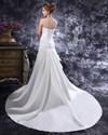 Show details for Ivory One Shoulder Long Train Wedding Dress With Floral Embellishments
