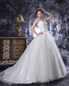 Show details for Ivory Lace Bodice Drop Waist Organza Wedding Dress With Beaded Straps