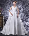 Show details for Beautiful White V Neck Ruched Bodice Princess Ball Gown Wedding Dresses