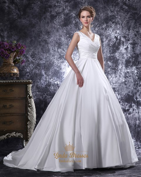 Beautiful White V Neck Ruched Bodice Princess Ball Gown Wedding Dresses