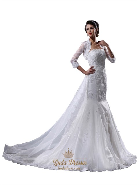 Ivory Mermaid Strapless Vintage Formal Wedding Dresses With Jacket