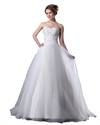 Show details for White Organza Sweetheart Strapless Beaded Bodice Aline Wedding Dress