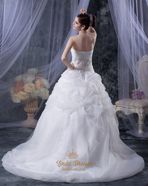 White Sweetheart Dropped Waist Applique Tulle Wedding Dress With Pick Up
