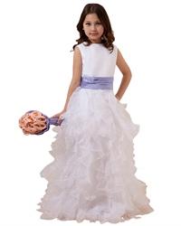 White Organza Ruffled Skirt Flower Girl Dress With Purple Sash