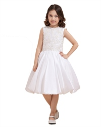 White Taffeta Bubble Hem Tea Length Flower Girl Dress With Lace Applique