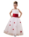 Show details for White Organza Spaghetti Straps Flower Girl Dress With Red Petals