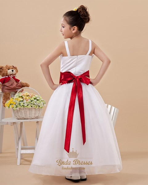 White Organza Spaghetti Straps Flower Girl Dress With Red Petals