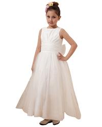 Ivory Satin & Tulle Floor Length Flower Girl Dress With Elegant Bow