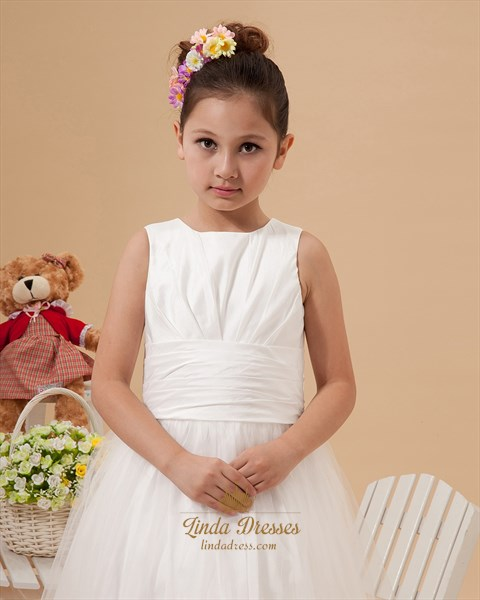 Ivory Satin & Tulle Floor Length Flower Girl Dress With Elegant Bow