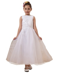 White Lace Applique Floor Length Flower Girl Dress Tulle Skirt