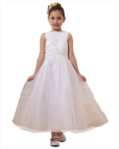 White Lace Applique Floor Length Flower Girl Dress Tulle Skirt