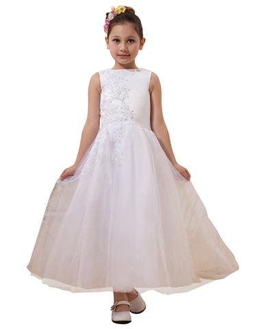 White lace applique floor length flower girl dress tulle skirt white lace applique floor length flower girl dress tulle skirt mightylinksfo
