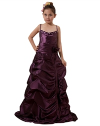 Grape Taffeta Spaghetti Strap Pick Up Flower Girl Dresses With Beading