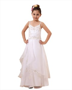White Spaghetti Strap Lace Applique Flower Girl Dresses Double Layered