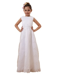 White A-Line Scoop Floor-Length Lace Applique Tulle Flower Girl Dress