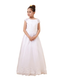 White Cap Sleeve Floor-Length Tulle Flower Girl Dress With Lace Bodice