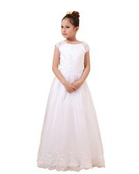 White Cap Sleeve Floor-Length Tulle Flower Girl Dress With Lace Bodice