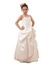 Show details for Ivory Satin A-Line Spaghetti Strap With Pick-Up Flower Girl Dress