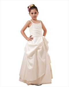 Ivory Satin A-Line Spaghetti Strap With Pick-Up Flower Girl Dress