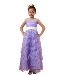 Lavender Spaghetti Strap Organza Pick Up Flower Girl Dresses With Sash