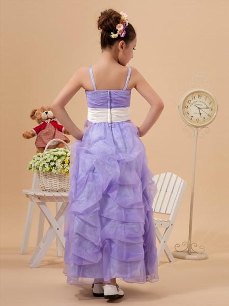 Lavender Spaghetti Strap Organza Pick Up Flower Girl Dresses With Sash
