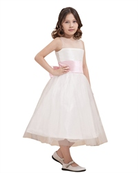 Ivory Tulle Tea Length Double Layer Flower Girl Dresses With Pink Sash