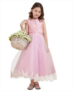 Pink Princess Lace Applique Flower Girl Dresses With Bow In Back