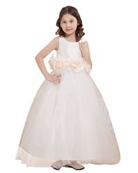 Ivory Princess Tulle Skirt Flower Girl Dresses With Flower Sash