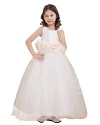 Ivory Princess Tulle Skirt Flower Girl Dresses With Flower Sash
