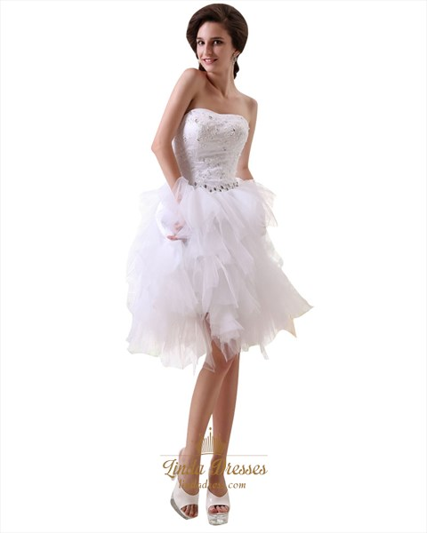 White Strapless Short Beaded Applique Tulle Ruffle Skirt Wedding Dress