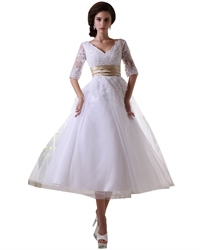 White Tea Length Half Sleeves Tulle Wedding Dress With Champagne Sash