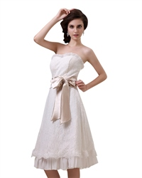 Ivory Strapless Lace Tea Length Wedding Dress With Champagne Sash