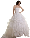 Show details for Ivory A-Line Sweetheart Ruffled Organza Wedding Dress With Beading