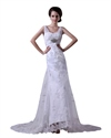 Show details for White Lace Mermaid Empire Applique Wedding Dress With Beaded Waistband