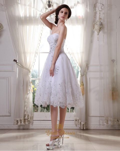 White Sweetheart Tea Length Tulle Wedding Dresses With Floral Applique