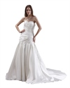 Ivory Strapless Neckline Ruched Wedding Dresses With Lace Appliques