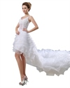 Show details for White Spaghetti Strap V Neck High Low Wedding Dress With Layered Skirt