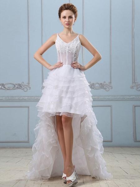 White Spaghetti Strap V Neck High Low Wedding Dress With Layered Skirt